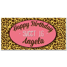 Leopard Print Sweet Sixteen 16 Birthday Banner Birthday Personalized Par... - $23.64