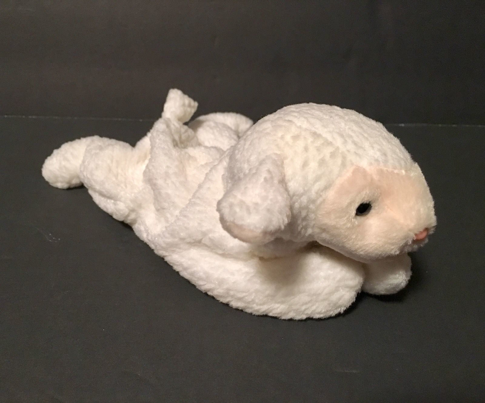 Ty Beanie Babies Plush Beanbag Fleece the Lamb Sheep White Pink Nose