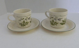 Corelle Thymeless Herbs Discontinued Pattern 2 Cups & Saucers Rosemary L... - $12.86