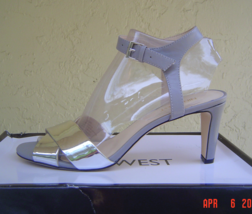 New Nine West Gray Silver Leather Sandals Size 8.5 M - $32.91