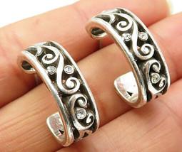 925 Sterling Silver - Vintage Cubic Zirconia Swirl Stud J-Hoop Earrings - E3800 - $31.24