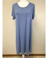 Lularoe L Large Solid Heathered Blue Carly Dress Womens - $21.99