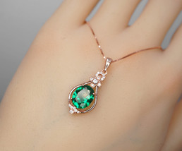 Green Emerald Necklace Rose Gold coated 925 Sterling Silver Oval May Bir... - $88.00