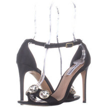 Steve Madden Fabulous Ankle Strap Sandals, BlackSatin 455, BlackSatin, 7.5 US - $33.11