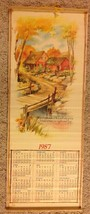 Vintage 1987 Wall Scroll Calendar Country Scene Cane Wall Hanging Revers... - $10.84