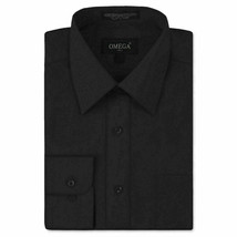 Omega Italy Men Black Classic Fit Standard Cuff Solid Dress Shirt - XL