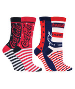 Coca Cola - 2 Pack Womens Stars and Stripes Patterned Novelty Cotton Crew Socks - £9.25 GBP