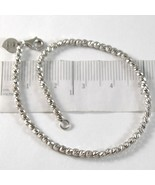 White gold bracelet 750 18k with Balls Beads Heart palline long 17 inches - $916.68