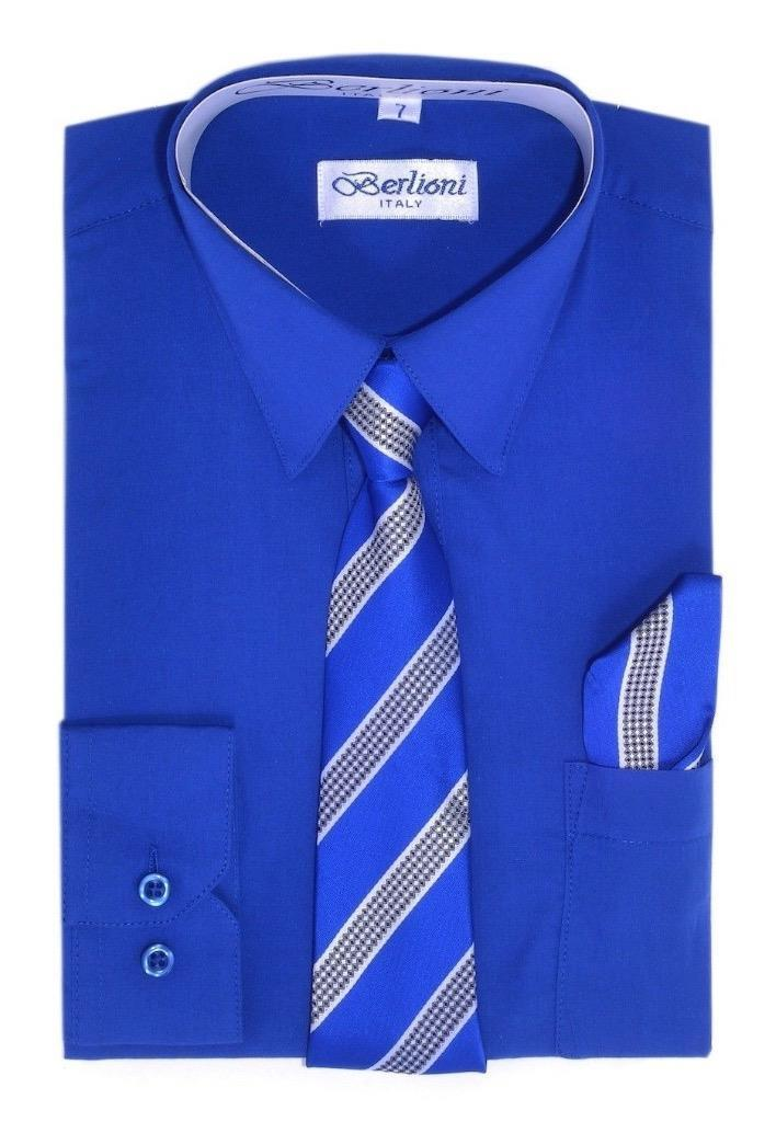 BERLIONI ITALY TODDLERS KIDS BOYS LONG SLEEVE DRESS SHIRT TIE & HANKY ROYAL BLUE