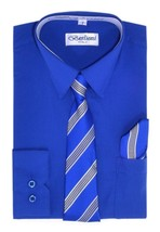 BERLIONI ITALY TODDLERS KIDS BOYS LONG SLEEVE DRESS SHIRT TIE & HANKY ROYAL BLUE