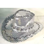 SEQUIN SILVER COWBOY HAT party supply western hats mens womens COWGIRL n... - $18.99