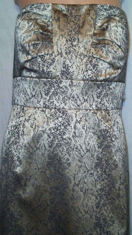Antonio Melani Strapless Sheath Dress Sz 12 Pewter Gold Snakeskin NWT $169