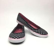 Keds Slip on Athletic Ballet Flats Canvas Black Pink White Polka Dots Wo... - $18.69