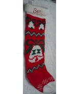 Vintage Homemade Red Knit Bell Christmas Stocking With Painted Ben - $7.99