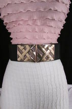 Nero,da Donna Elastico Moda Cintura Vita Metallo Oro Strisce Fibbia Quadrata S M image 11