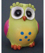 """OWL FIGURINE Wooden 3"""" Painted Colorful Bird Chartreuse Green NEW - $6.99"""