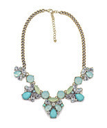 Darling Aqua & Turquoise Color Floral Statement Necklace - $34.00