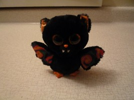 "TY Beanie Boos 6"" SCAREM Bat Halloween Plush Orange Sparkly Eyes Black ... - $9.89"