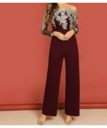 Off Shoulder Embroidered Mesh Bodice Wide Leg Culottes Jumpsuit Playsuit... - $49.49