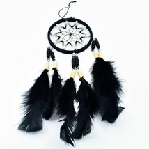 """Handcrafted Miniature 9"""" Dreamcatcher Plastic & Wood Beads w Black Feathers  image 2"""