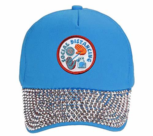Social Distancing Hat - Adjustable Light Blue Rhinestone Womens Cap
