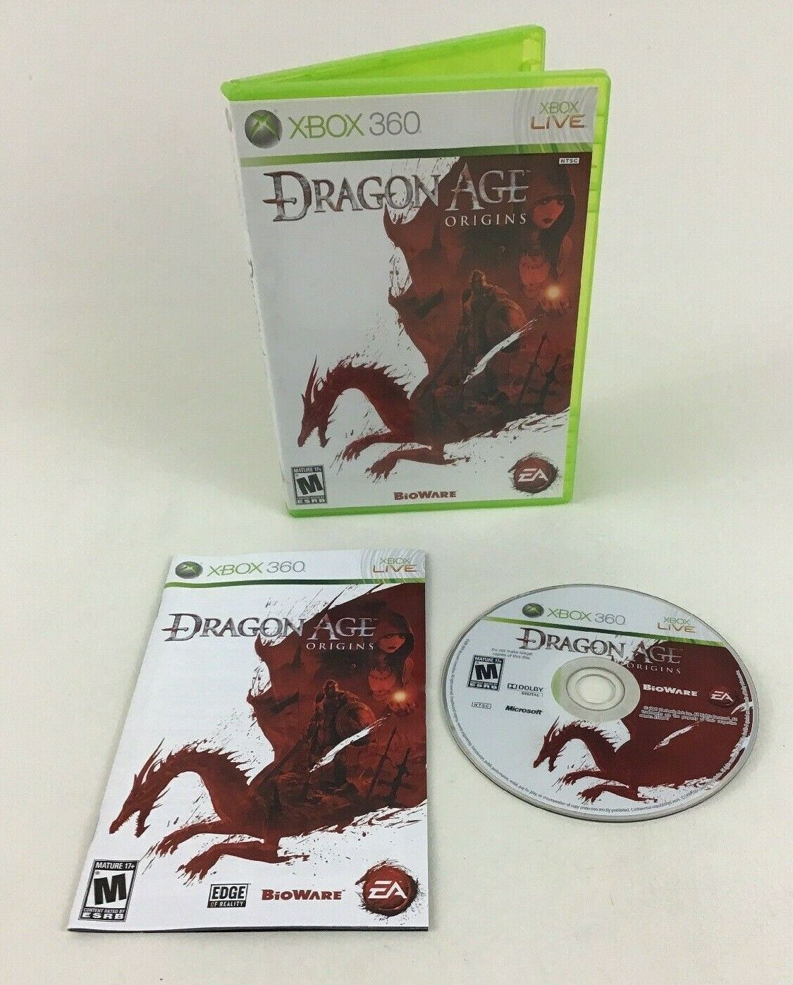 Dragon Age Origins Xbox 360 Video Game Bioware EA 2009 M-Rated Complete Manual
