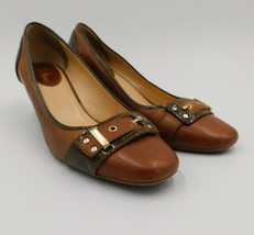 Cole Haan Womens Shoes Size 9 Gold Tone Buckle Two Tone Brown Leather Slip On - $29.57