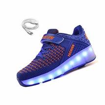 Ehauuo Unisex Wheel Shoes Kids Light up Roller Skate Shoes Girls USB Cha... - $41.33