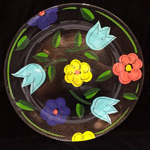 Clear Glass Platter Plate w/ Tulip & Daisy Flowers Colorful Hand Painted... - $18.80