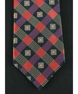 """Ermenegildo Zegna red blue black glen check 58"""" x 3.75"""" designer tie nec... - $42.06"""