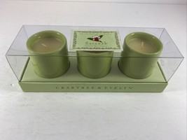 Crabtree & Evelyn Sarawak Exotic Scented Mini Candles Set of 3 Ceramic NEW - $17.99