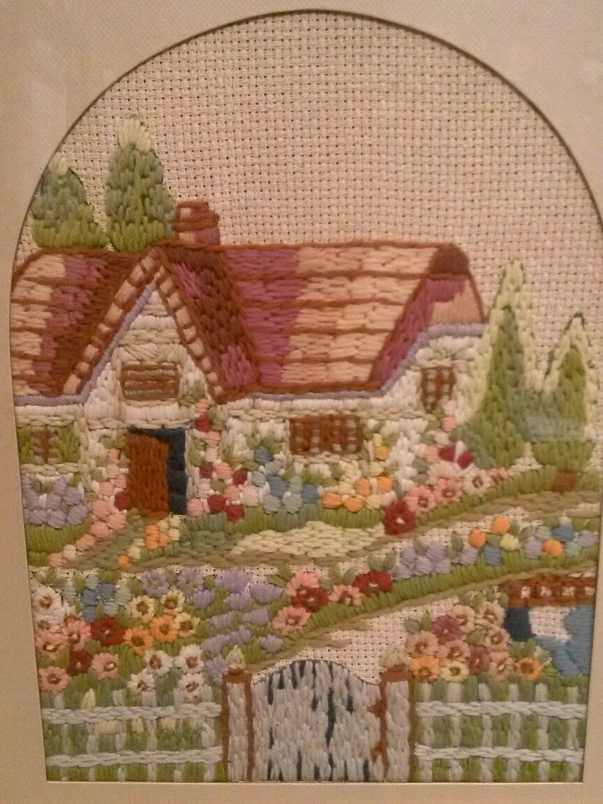 Vintage Garden Cottage Yarn Embroidery 18 x 14 Picture Framed with Glass