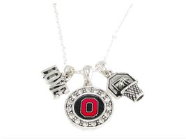 Ohio State Buckeyes Multi Charm Love Basketball Red Silver Necklace Jewe... - $12.65