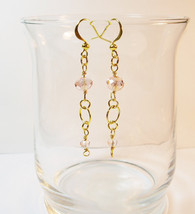 Gold Pink Crystal Drop Earrings/ Bohemian Jewelry/ Love/ Gift for Her/ S... - $12.00