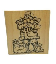 Wood Mounted Rubber Stamp 2000 Stampin' Up Santa Claus Carrying Toys Vin... - $12.86