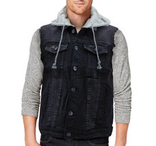 CS Men's Ripped Distressed Button Up Denim Jean Vest Removable Hood Slim Fit image 3