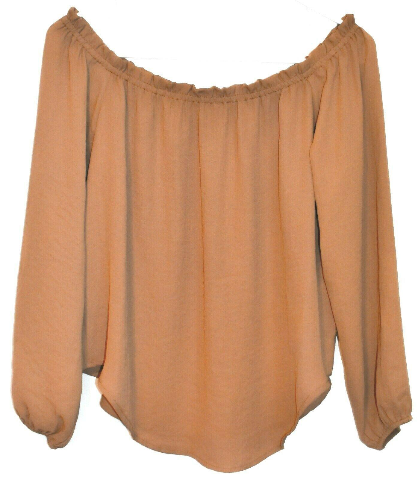 Forever 21 Women's Camel Brown Off-the-Shoulder Sheer Blouse Size S