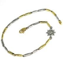 Armband Gelbgold Weiß 18K 750, Tube Abwechselnde, Ruder Seefahrt - $372.39