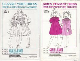 2X Grace Knott Girls Classic Yoke & Peasant Dress English Smocking Pattern S8 - $13.99