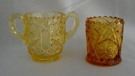 Lot (2) Vintage IMPERIAL GLASS Golden Amber Toothpick Holder Vases (1 Ha... - $19.50