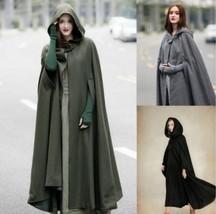 Comic Cosplay Star War Robe Jedi Woolen Hooded Cloak Long Cape Coat Costume - $35.00