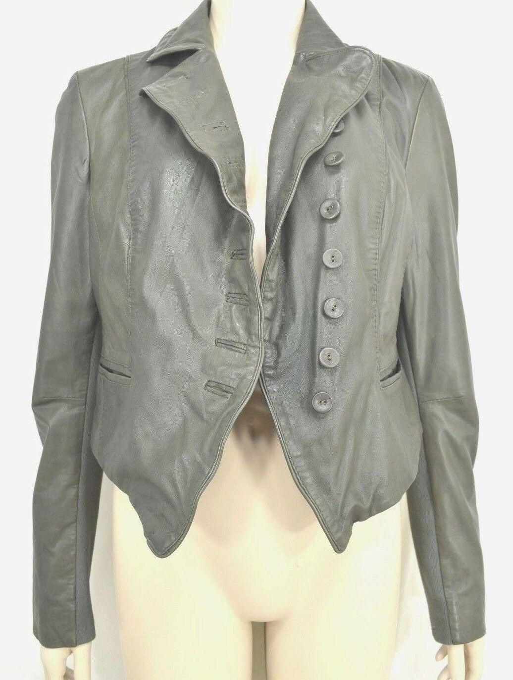 MUUBAA lambskin soft leather jacket SZ 8 Moss Army Gray asymmetric buttoned