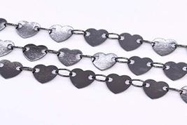 1 FT - 6.5x6.5MM Heart Slice Chain Black Tone Brass Chains for Jewelry M... - $7.11