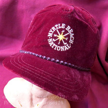 Vintage 1980s Myrtle Beach Golf National Velour Velvet Strapback Hat Cap Rope - $24.14