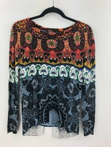 Desigual Split Tail Blouse Top Womens Small Long Sleeve Bling Floral A53-05 - $24.14
