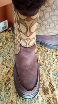 Coach Sherman Sig Suede/Sig C Chestnut/Khaki Cold Weather Boots-NIB 7M image 8