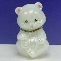 Fenton glass teddy bear figurine birthday sculpture milk necklace signed... - $91.76