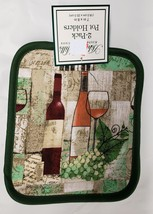"""Set of 2 Printed JUMBO Pot Holders, WINE & GRAPES 7"""" x 8"""", green back by... - $8.90"""