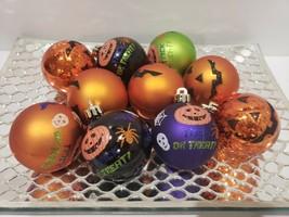 "Halloween Glitter Pumpkins Spider 3"" Tree Ornaments Decorations Set of 10 - $28.99"