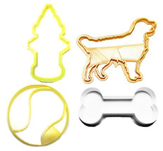 Dog Park Tennis Ball Bone Pet Birthday Set Of 4 Cookie Cutter 3D USA PR1241 - $7.99